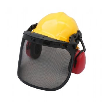 Forestry Helmet combination head protectors wire mesh with ear muff